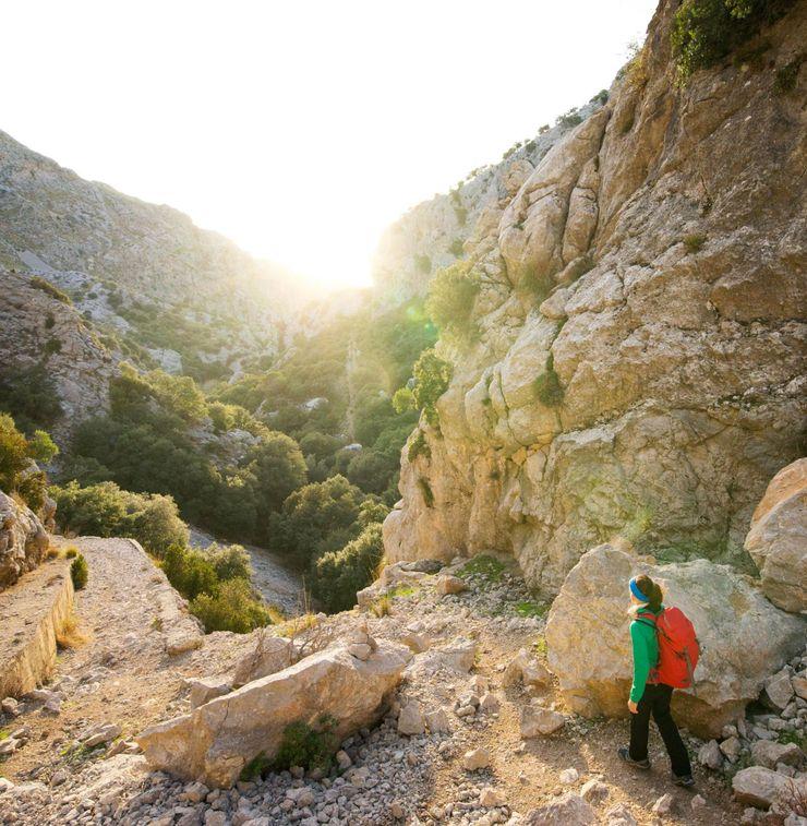 Eine Wanderin in den Bergen